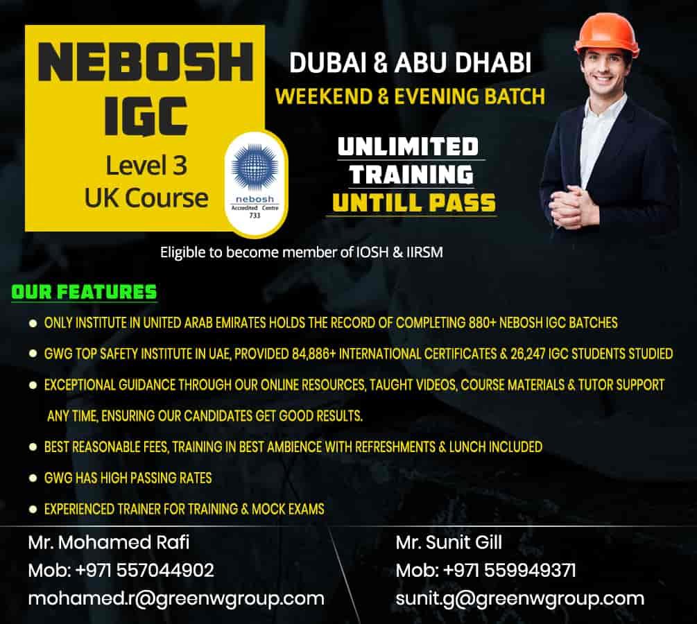 NEBOSH course in Dubai