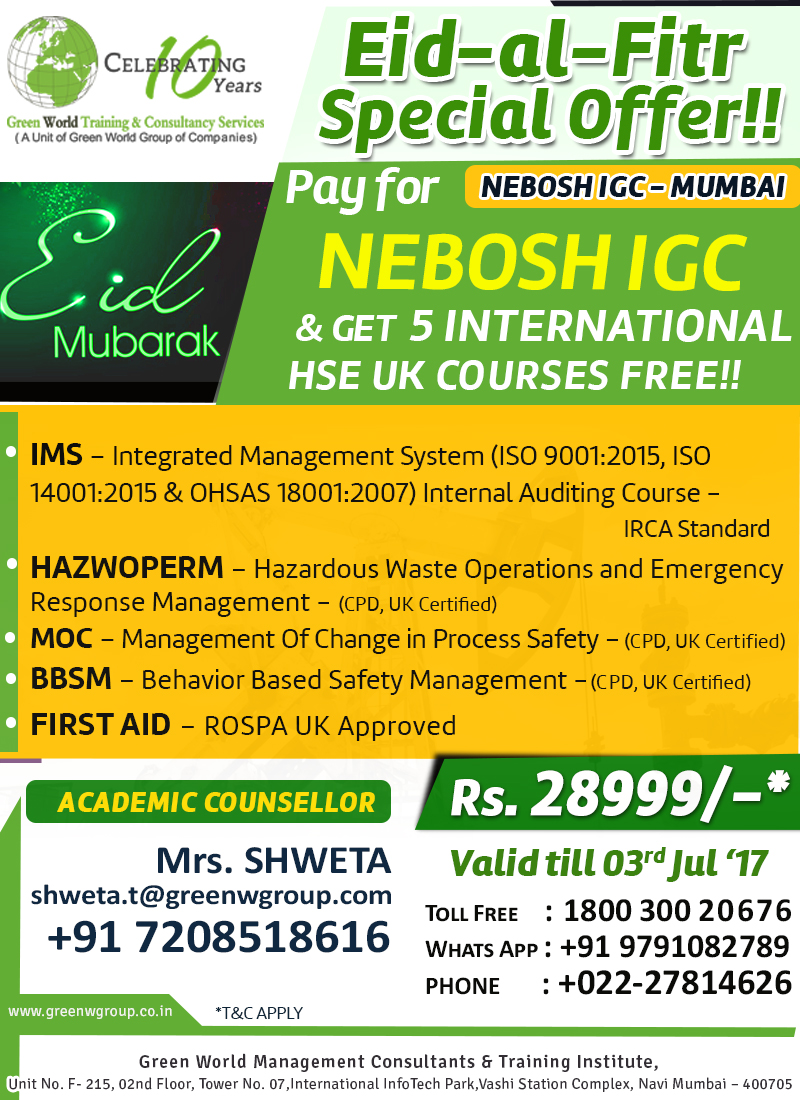 Gwg S Discount Offer For Nebosh Igc Courses In Mumbai
