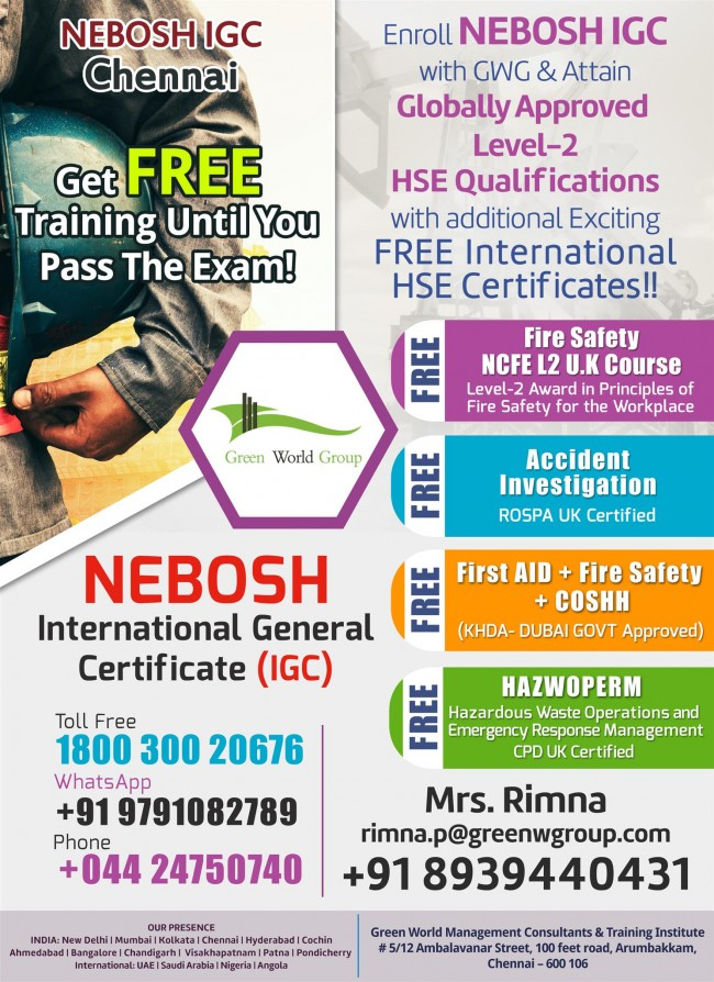 NEBOSH IGC Chennai Fabulous Feb Offer