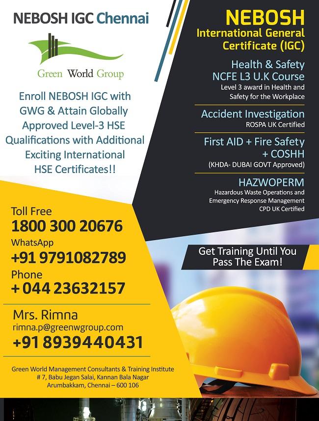 NEBOSH IGC Chennai New Offer Mar