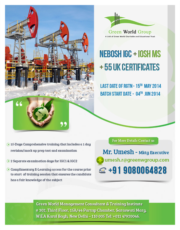 Get NEBOSH IGC + IOSH + 55 UK certs in New Delhi @ 49999/- INR