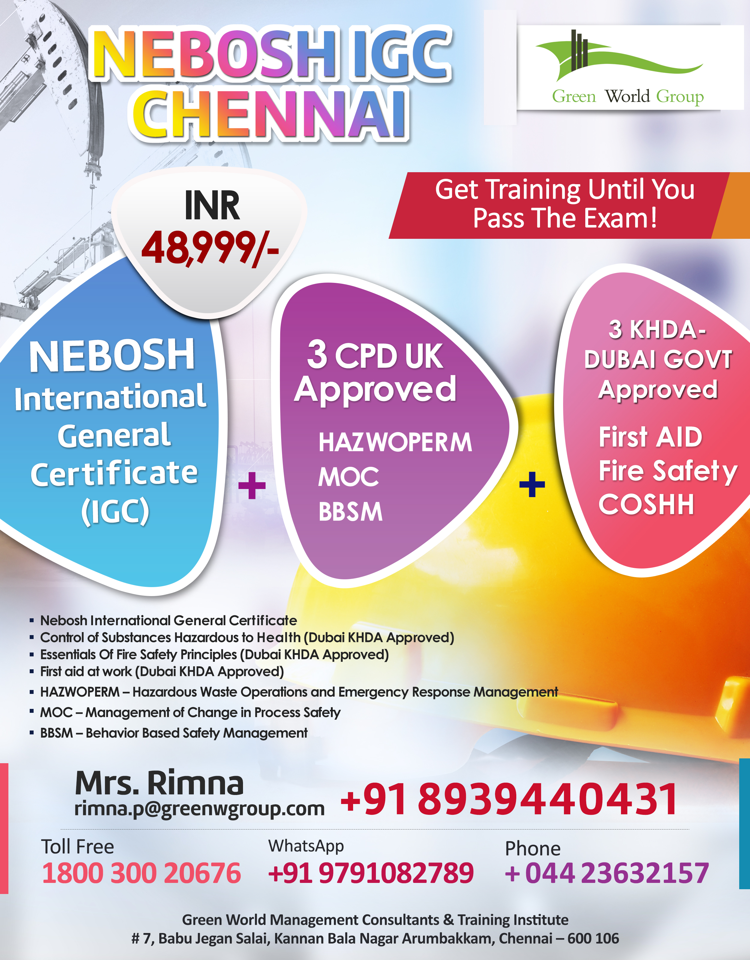 Excellent Offer For Nebosh Igc In Chennai From Green World Group
