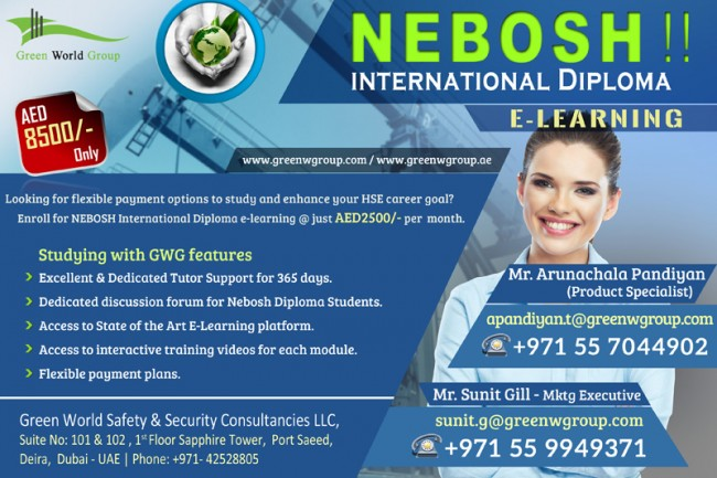 NEBOSH International Diploma course in Dubai