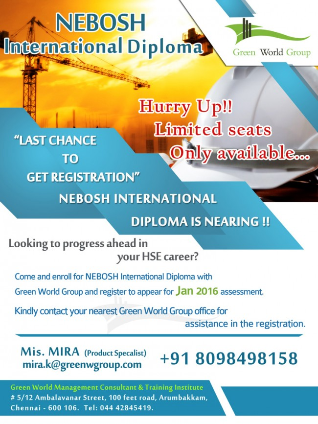 NEBOSH International Diploma Course In India
