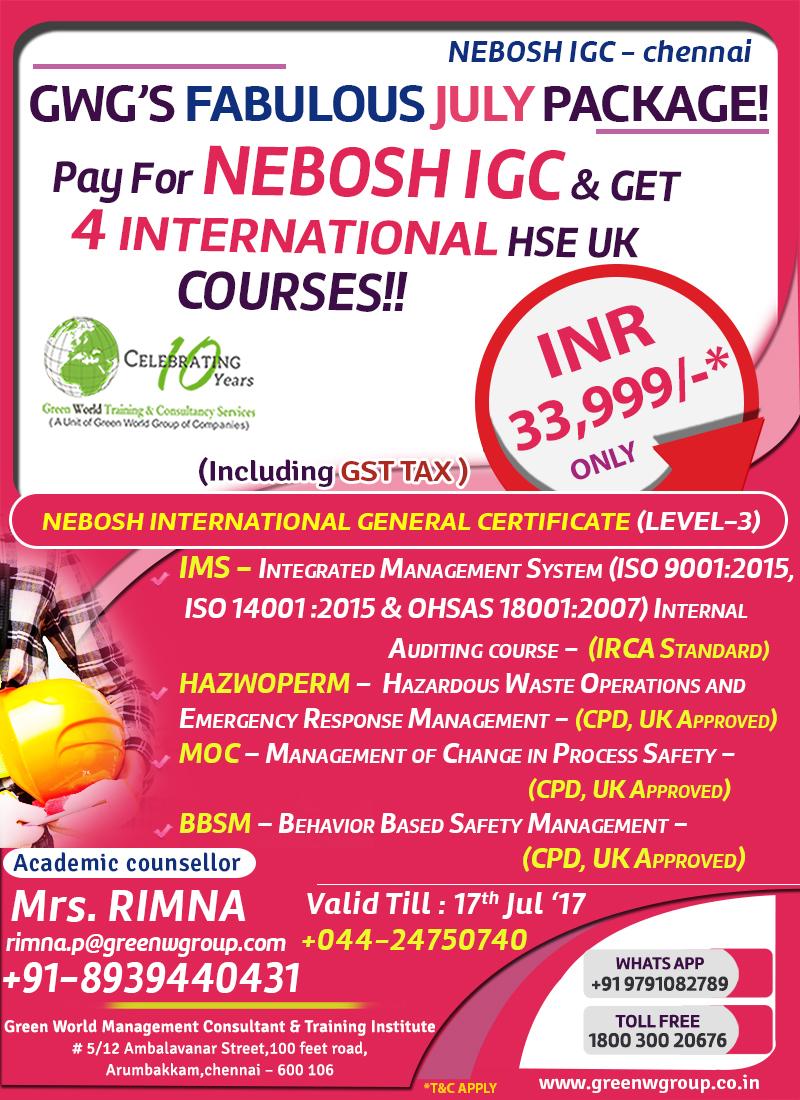 NEBOSH Safety Training Course In ChennaiTamilnadu