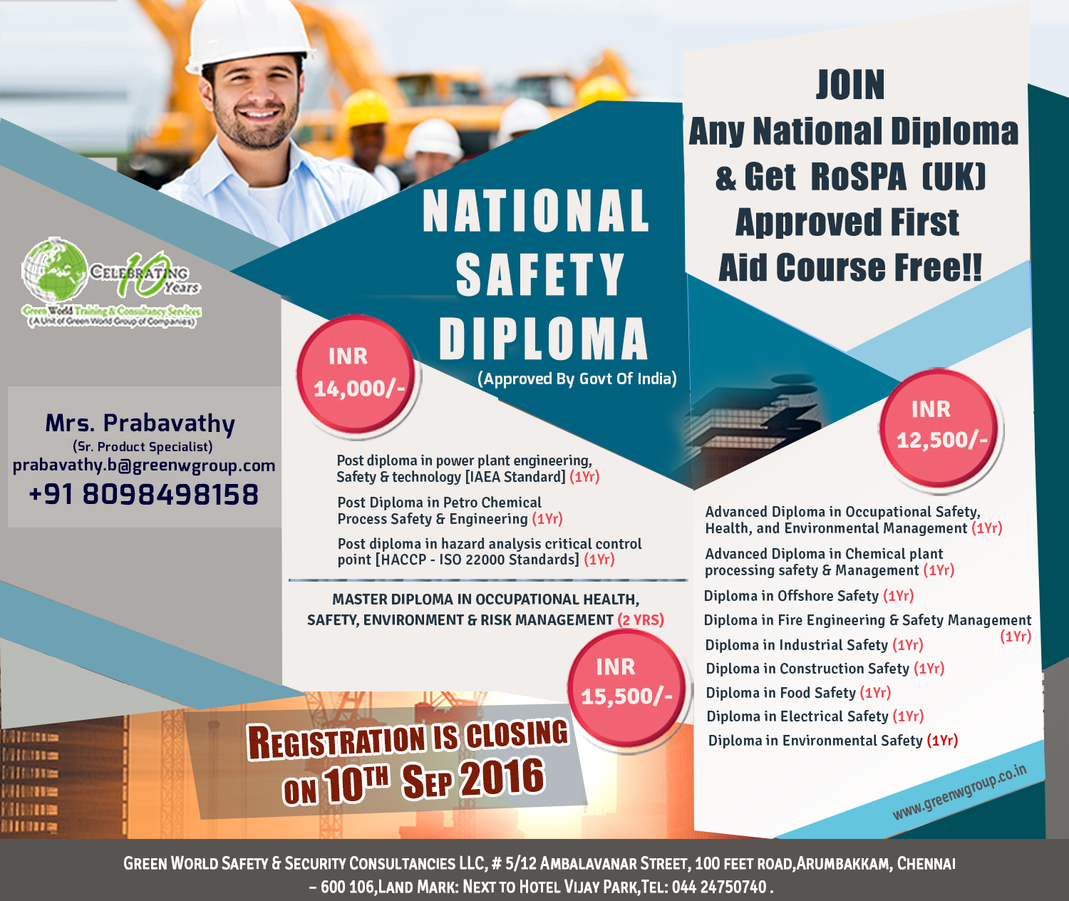 Safety diploma in India