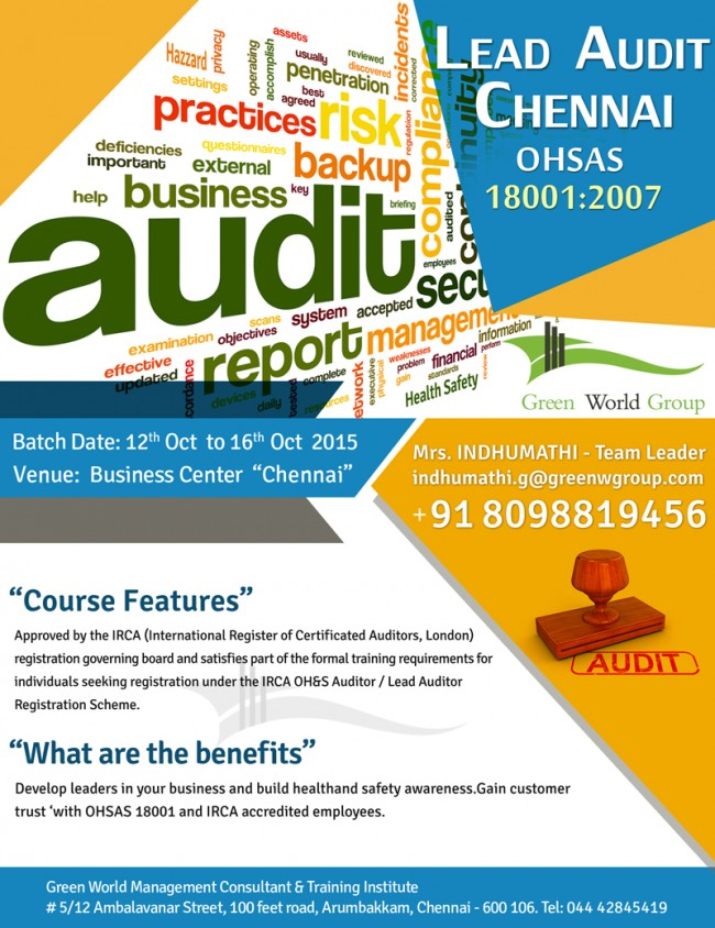IRCA Lead auditor in Chennai