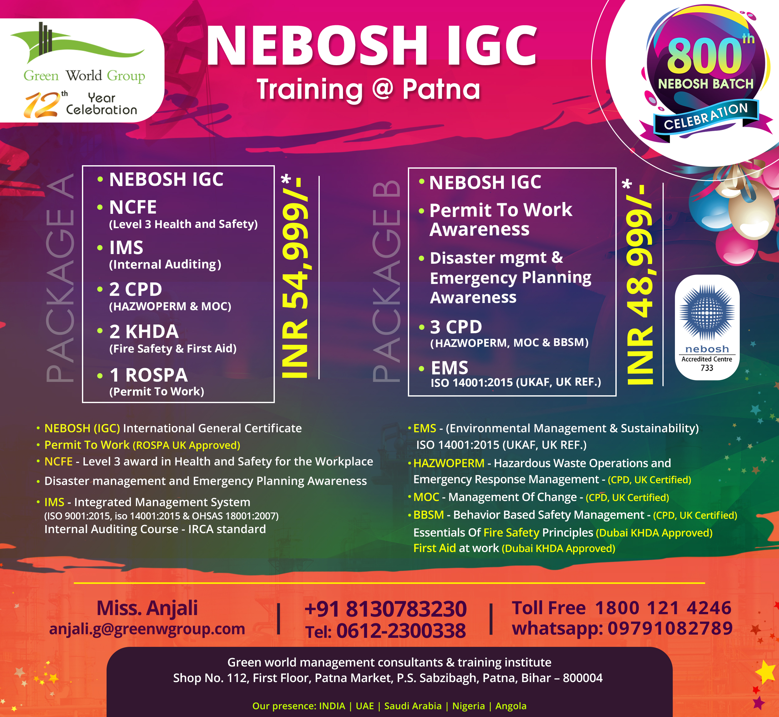 NEBOSH-IGC course in Patna