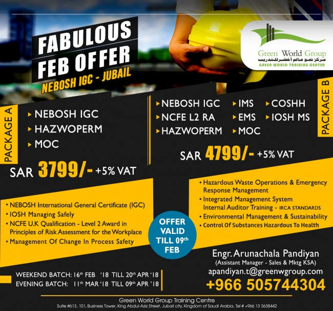 Nebosh Safety Training Courses In Jubail Dammam Saudi Arabia