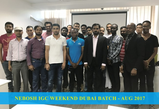 GWG - DXB - NEBOSH IGC WEEKEND BATCH - AUGUST 2017 - TUTOR Mr. KANAGARAJ