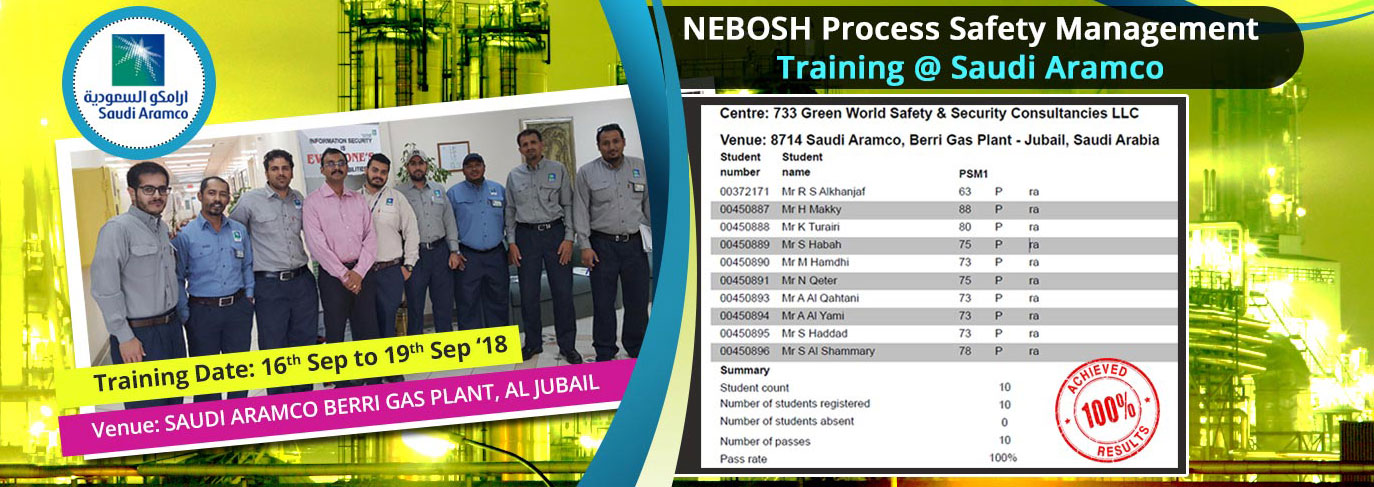 Nebosh Psm In House Training At Saudi Aramco Company Jubail Ksa