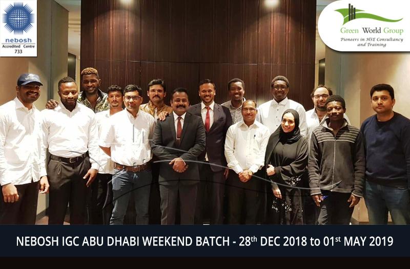 NEBOSH IGC ABU DHABI WEEKEND BATCH - 28th DEC 2018 to 01st MAY 2019