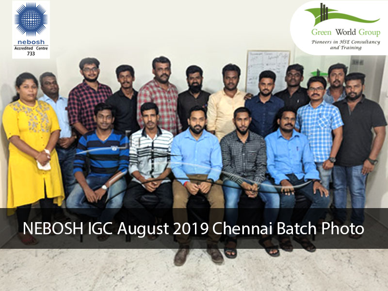 NEBOSH IGC August 2019 Chennai Batch Photo