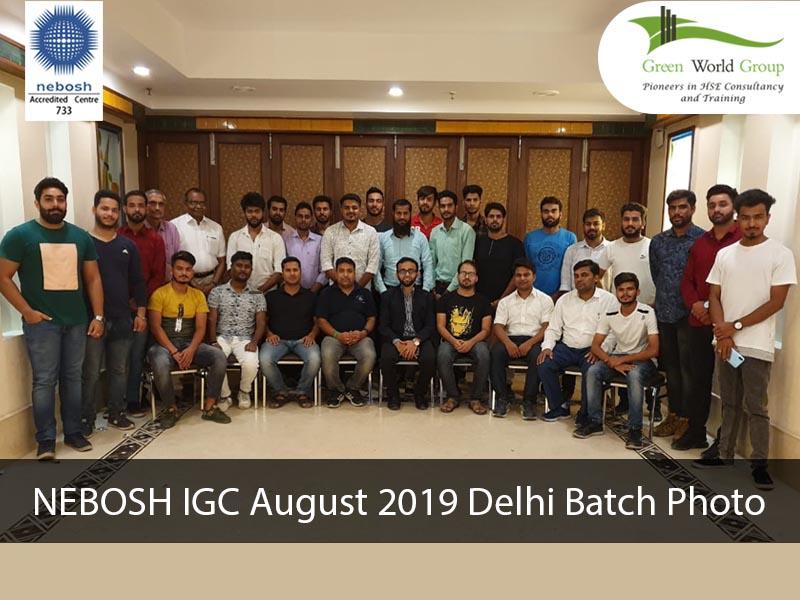 NEBOSH IGC August 2019 Delhi Batch Photo