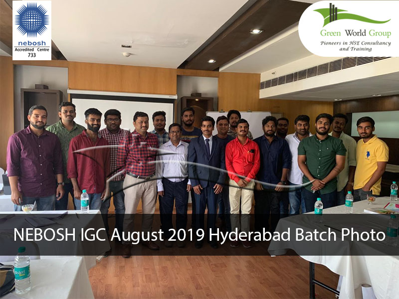 NEBOSH IGC August 2019 Hyderabad Batch Photo