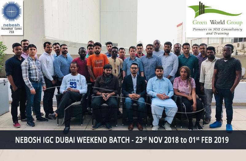 NEBOSH IGC DUBAI WEEKEND BATCH - 23rd NOV 2018 TO 01st FEB 2019