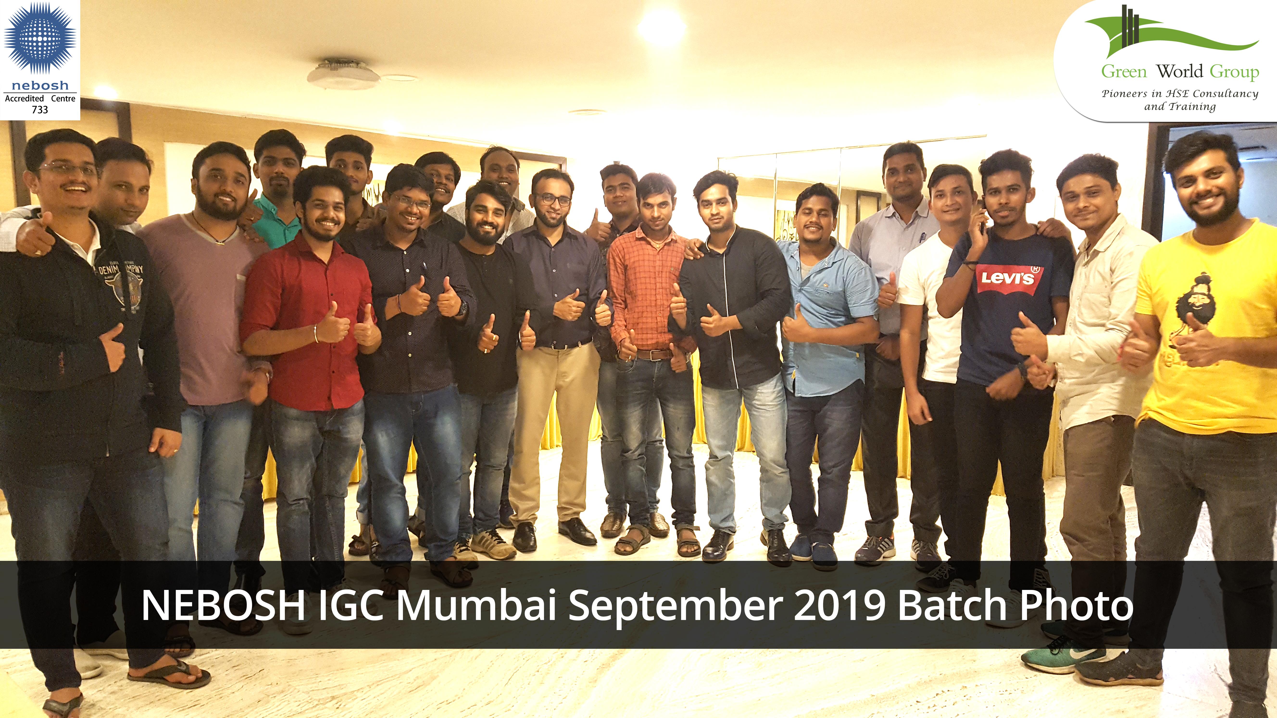 NEBOSH IGC Mumbai September 2019 Batch Photo